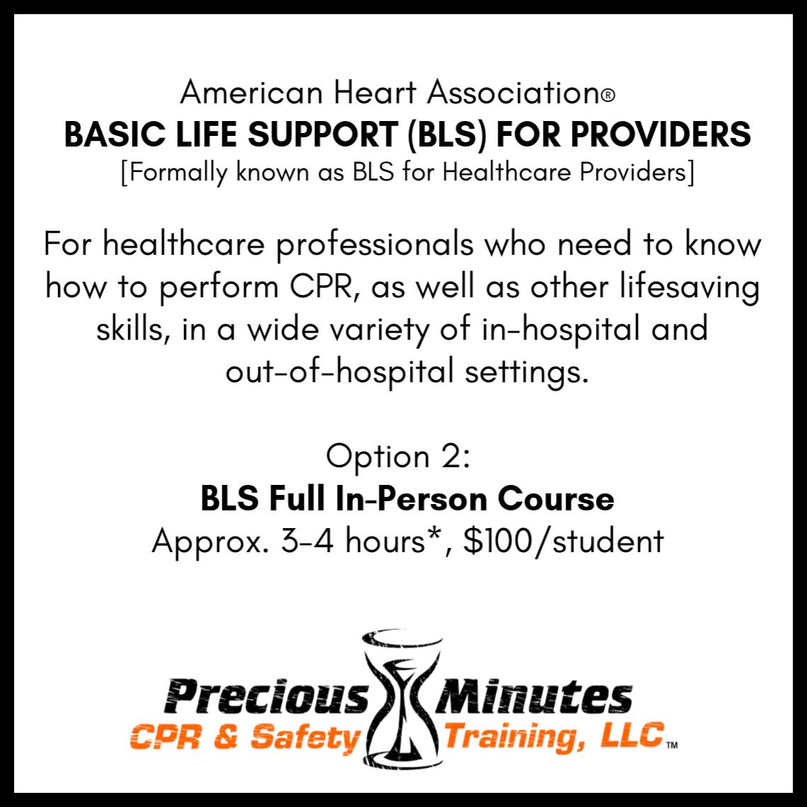 Healthcare Providersbls Precious Minutes Cpr Safety Training